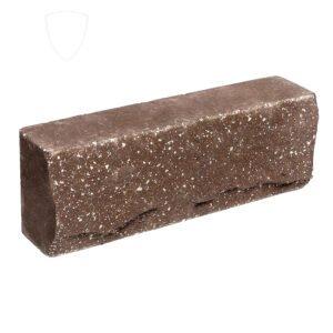 Брусок-кирпич облицовочный полнотелый коричневого цвета, ложковый, скол скала, размер 250x50x88 мм