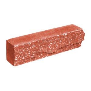Брусок-кирпич облицовочный полнотелый, красного цвета, ложковый, скол скала, размер 250x50x65 мм