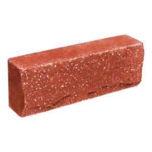Брусок-кирпич облицовочный полнотелый, красного цвета, ложковый, скол скала, размер 250x50x88 мм