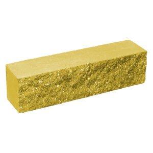 Брусок-кирпич облицовочный полнотелый желтого цвета, ложковый, колотый, размер 250x60x65 мм