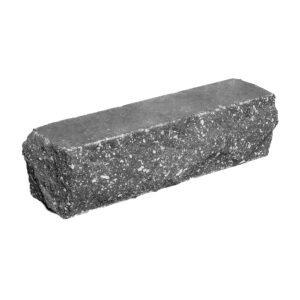 Брусок-кирпич облицовочный полнотелый черного цвета, угловой, скол скала, размер 225x50x65 мм