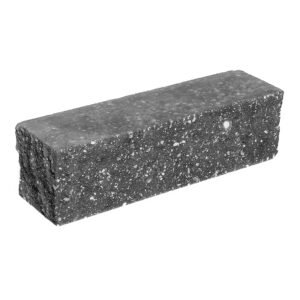 Брусок-кирпич облицовочный полнотелый черного цвета, угловой, колотый, размер 225х60х65 мм