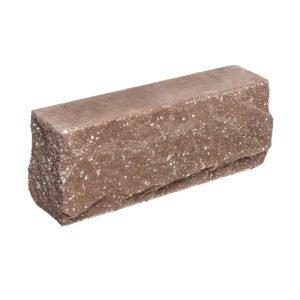 Брусок-кирпич облицовочный полнотелый коричневого цвета, угловой, скол скала, размер 225x50x88 мм