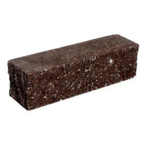 Брусок-кирпич облицовочный полнотелый шоколадного цвета, угловой, колотый, размер 225x60x65 мм