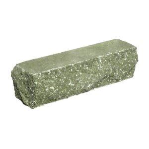 Брусок-кирпич облицовочный полнотелый, зеленого цвета, угловой, скол скала, размер 225x50x65 мм