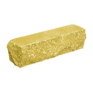 Брусок-кирпич облицовочный полнотелый желтого цвета, угловой, скол скала, размер 225x50x65 мм