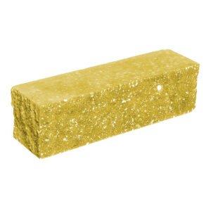 Брусок-кирпич облицовочный полнотелый желтого цвета, угловой, колотый, размер 225x60x65 мм
