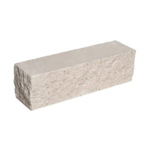 Брусок-кирпич облицовочный полнотелый белого цвета, угловой, скол скала, размер 225x50x65 мм