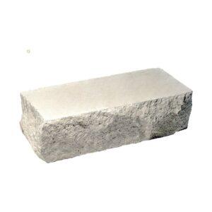 Кирпич облицовочный полнотелый одинарный угловой, скол скала, белого цвета, размер 225х90х65 мм