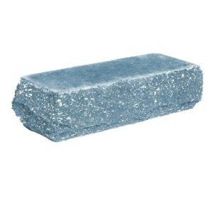Кирпич облицовочный полнотелый одинарный угловой, скол скала, голубого цвета, размер 225х90х65 мм