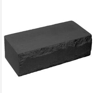 Кирпич облицовочный полнотелый ложковый, скол луч, черного цвета, размер 250х115х88 мм