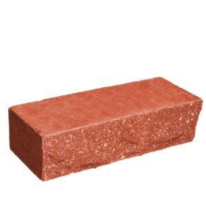 Кирпич облицовочный полнотелый, ложковый, скол скала, красного цвета, размер 250х90х65 мм