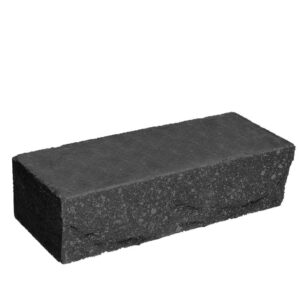 Кирпич облицовочный полнотелый, ложковый, скол скала, черного цвета, размер 250х90х65 мм