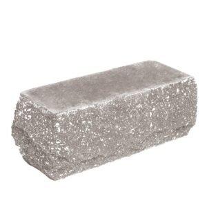 Кирпич облицовочный полнотелый, угловой, скол скала, серого цвета, размер 225х90х88 мм