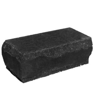 Кирпич облицовочный полнотелый угловой, черного цвета, скол луч, размер 245х115х88 мм