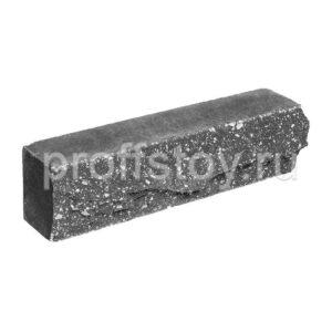 Брусок-кирпич облицовочный полнотелый черного цвета, ложковый, скол скала, размер 250x50x65 мм