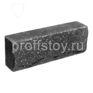 Брусок-кирпич облицовочный полнотелый черного цвета, ложковый, скол скала, размер 250x50x88 мм (полуторный)