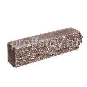 Брусок-кирпич облицовочный полнотелый коричневого цвета, ложковый, скол скала, размер 250x50x65 мм
