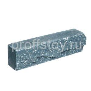 Брусок-кирпич облицовочный полнотелый голубого цвета, ложковый, скол скала, размер 250x50x65 мм