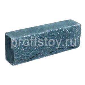 Брусок-кирпич облицовочный полнотелый голубого цвета, ложковый, скол скала, размер 250x50x88 мм