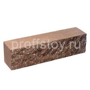 Брусок-кирпич облицовочный полнотелый, коричневого цвета, ложковый, колотый, размер 250x60x65 мм