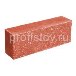 Брусок-кирпич облицовочный полнотелый, красного цвета, ложковый, колотый, размер 250x60x88 мм