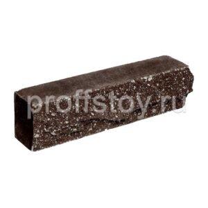 Брусок-кирпич облицовочный полнотелый шоколадного цвета, ложковый, скол скала, размер 250x50x65 мм