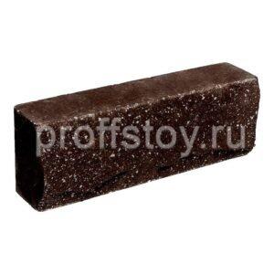 Брусок-кирпич облицовочный полнотелый шоколадного цвета, ложковый, скол скала, размер 250x50x88 мм