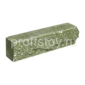 Брусок-кирпич облицовочный  полнотелый зеленого цвета, ложковый, скол скала, размер 250x50x65 мм