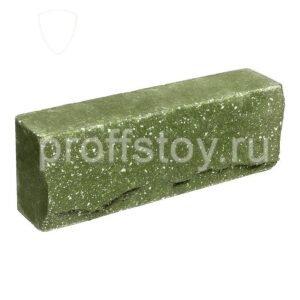 Брусок-кирпич облицовочный полнотелый зеленого цвета, ложковый, скол скала, размер 250x50x88 мм