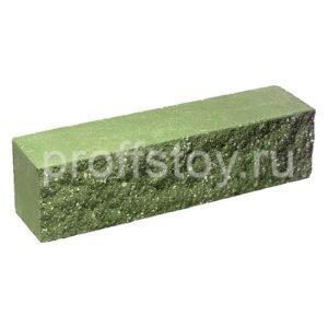 Брусок-кирпич облицовочный полнотелый зеленого цвета, ложковый, колотый, размер 250x60x65 мм