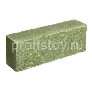 Брусок-кирпич облицовочный полнотелый зеленого цвета, ложковый, колотый, размер 250x60x88 мм
