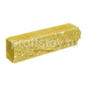 Брусок-кирпич облицовочный полнотелый желтого цвета, ложковый, скол скала, размер 250x50x65 мм