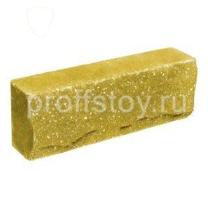 Брусок-кирпич облицовочный полнотелый желтого цвета, ложковый, скол скала, размер 250x50x88 мм