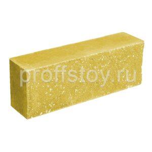 Брусок-кирпич облицовочный полнотелый желтого цвета, ложковый, колотый, размер 250x60x88 мм