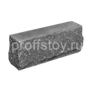 Брусок-кирпич облицовочный полнотелый черного цвета, угловой, скол скала, размер 225x50x88 мм