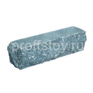 Брусок-кирпич облицовочный полнотелый голубого цвета, угловой, скол скала, размер 225x50x65 мм
