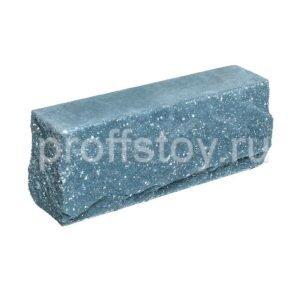 Брусок-кирпич облицовочный полнотелый голубого цвета, угловой, скол скала, размер 225x50x88 мм