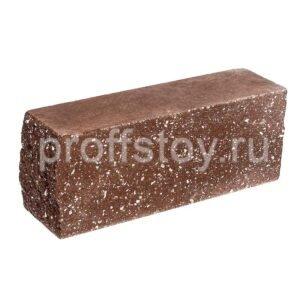 Брусок-кирпич облицовочный полнотелый коричневого цвета, угловой, колотый, размер 225x60x88 мм
