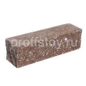 Брусок-кирпич облицовочный полнотелый коричневого цвета, угловой, колотый, размер 225x60x65 мм