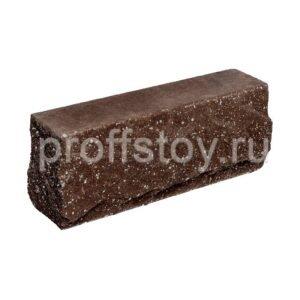 Брусок-кирпич облицовочный полнотелый шоколадного цвета, угловой, скол скала, размер 225x50x88 мм