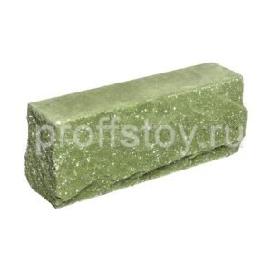 Брусок-кирпич облицовочный полнотелый зеленого цвета, угловой, скол скала, размер 225x50x88 мм