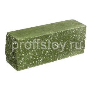 Брусок-кирпич облицовочный полнотелый зеленого цвета, угловой, колотый, размер 225x60x88 мм