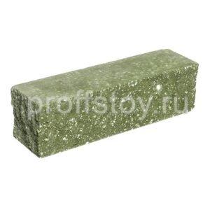 Брусок-кирпич облицовочный полнотелый, зеленого цвета, угловой, колотый, размер 225x60x65 мм