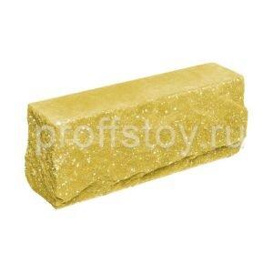 Брусок-кирпич облицовочный полнотелый желтого цвета, угловой, скол скала, размер 225x50x88 мм