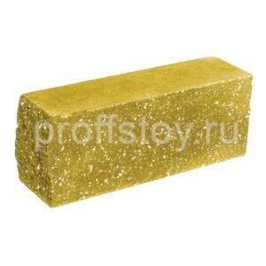 Брусок-кирпич облицовочный полнотелый желтого цвета, угловой, колотый, размер 225x60x88 мм