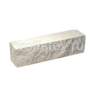 Брусок-кирпич облицовочный полнотелый белого цвета, ложковый, скол скала, размер 250x50x65 мм