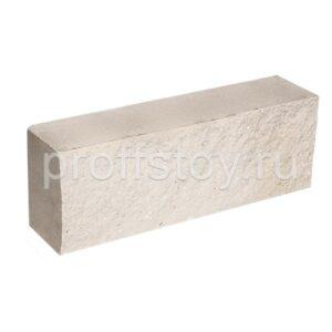 Брусок-кирпич облицовочный полнотелый белого цвета, ложковый, колотый, размер 250x60x88 мм