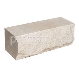 Кирпич облицовочный полнотелый полуторный ложковый, скол скала, белого цвета, размер 250х90х88 мм