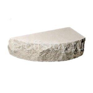 Кирпич облицовочный полнотелый одинарный полукруг, скол скала, белого цвета, размер 225х90х65 мм